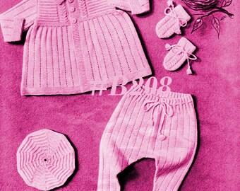 Almost FREE Vintage Infants Lovely Hearts Dress & Coat 7-Piece Set #205 PDF Digital Knit Pattern