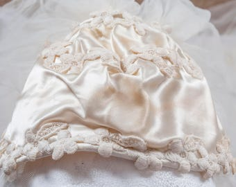 1940s satin wedding cap, 1980s veil. My mothers bridal cap, my sisters veil. Tulle, Satin, lace. Full, layered, and wonderful