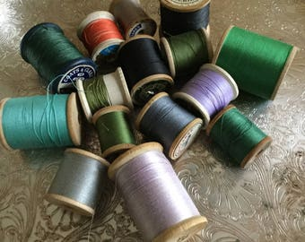14 Vintage Wooden Spools of Assorted Colored Thread-Sewing