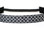 Black White Quatrefoil NonSlip Headband, Activewear, Fitness Accessory, Workout Headband, Gym Gear, Yoga Accessory, Gift for Runners