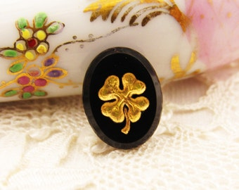 Vintage Intaglio Flower Four Leaf Clover Cabochon Black & Gold Glass Lucky Charm Stones 14x10mm Oval - 4