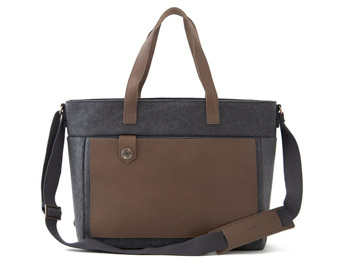 "Diaper Bag / 13"" Laptop Tote Bag / Canvas Tote Bag /  Moms & Dads Diaper Tote Bag / Gray Canvas / LOFT"