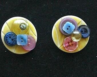 "Vintage Button Earrings - ""Spring Ear Bobs"""