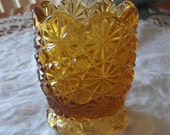 Vintage L E Smith Amber Daisy and Button Toothpick Holder 1960s