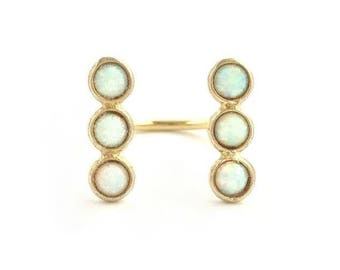 Double Opal Trio Open Ring