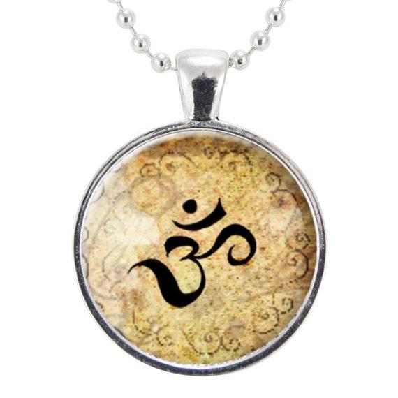 Zen Necklace, Henna Design Om Yoga Jewelry, Om Charm (0632S25MMBC)