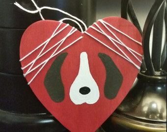 Beagle Heart - Heart Shaped Wooden Sign w/ Beagle Design and Accent String