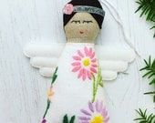 Handmade Vintage Embroidered Linen Christmas Tree Angel / Fairy ornament / decoration