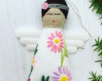 Handmade Vintage Embroidered Linen Christmas Tree Angel / Fairy ornament / decoration