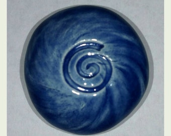 SPIRAL Pocket Stone - Ceramic - SAPPHIRE BLUE Art Glaze - Inspirational Art Piece