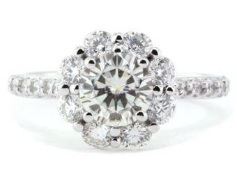 Diamond Halo Setting Engagement Ring Moissanite Center Stone Floral Design - Diamond Bouquet