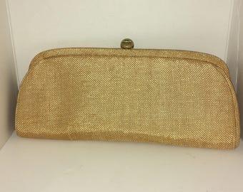 Vintage MM Slender Tweed Burlap Casual Clutch