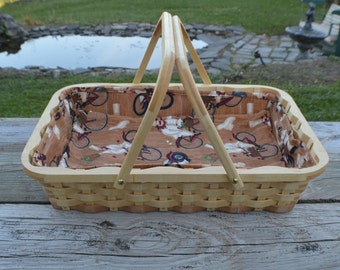 Casserole tote carrier basket with handles Maple wood