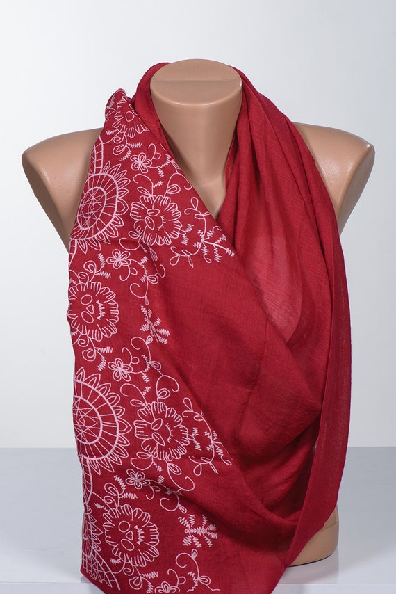 RED and White big scarf or Shawl. Scarf wrap. Women new scarf accessory. Christmas and  Valentine scarf.