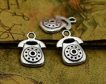 50pcs 17mmx12mm Telephone Charms Antique Silver Tone - SC2857