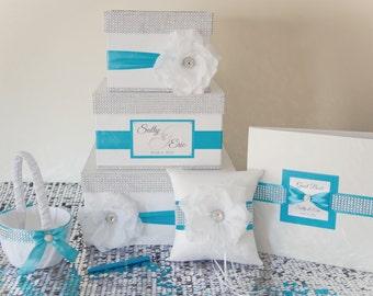 Wedding set - Wedding card box + guest book + pillow + girl basket - turquoise