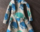 Blythe Doll Outfit /  1/6 doll size / jersey knit dress/ hedgehod