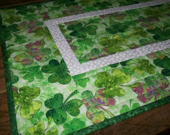 Quilted Cotton Table Runner, St. Patrick's Day Table Runner