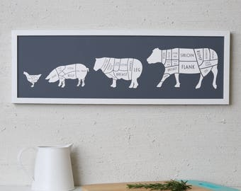 Large Butcher Print - butcher poster - butcher chart - fathers day - butcher diagram - Long meat cuts print - Gift for Dad - Gift for chef