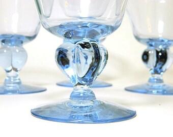 Four Seneca Ingrid Blue Glasses Wine Stems Sherbets