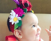 For babies: Authentic Frida Kahlo / Catrina/Mexico flower headband. Day of the dead hair piece.