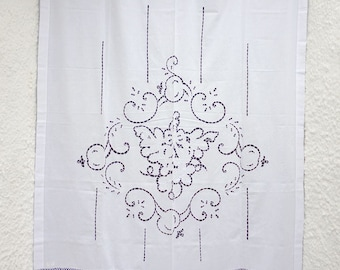 White handmade cutwork curtain with hand-crochet lace - Mediterranean style- Cottage chic- Traditional design- Farm house decor -0000910