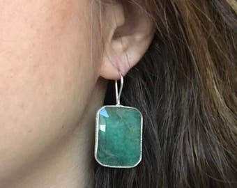 Rectangle Emerald Statement Earring- Green Emerald Dangle Earring- Green Gemstone Earring- May Birthstone Earring- Gold Emerald Earring