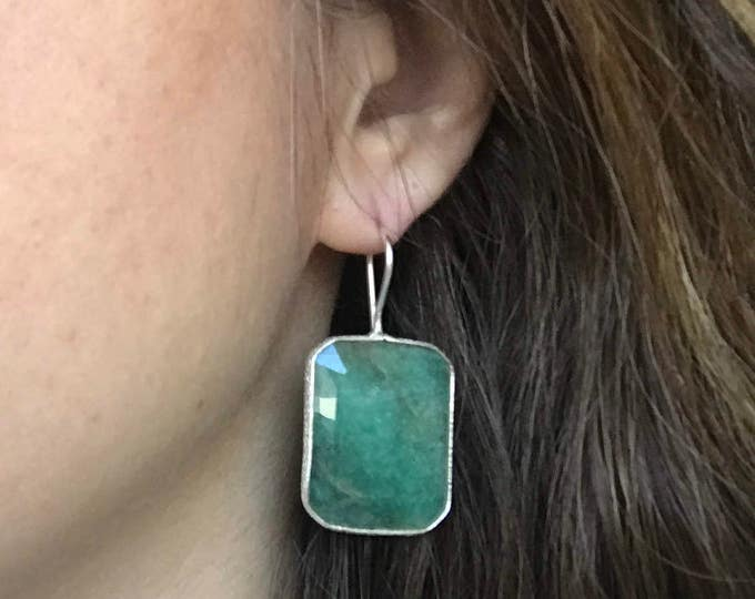 Rectangle Emerald Statement Earring- Green Emerald Dangle Earring- Green Gemstone Earring- May Birthstone Earring- Gold Emerald Earring
