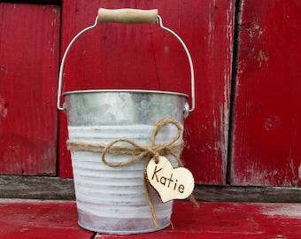 Wedding Bucket - Rustic Flower Girl Basket - Flower Girl - Wedding Basket - Flower Bucket - Wedding Pail - Beach Wedding - Boho Wedding