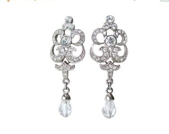 Vintage Fifth Avenue Butler Clear Crystal Rhinestone Earrings Clip