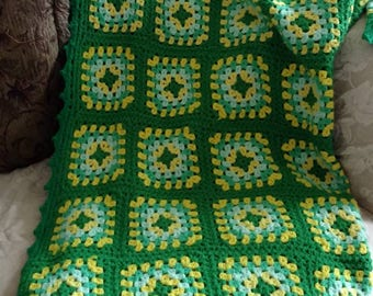 Vintage Green & Yellow Granny Square Afghan Blanket Twin Size Granny Chic