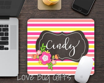 Personalized Mousepad * Pink and yellow stripes * Chalkboard * Personalized * Desk accessory * Mouse Pad