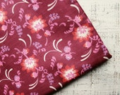 Vintage cotton fabric white wine red bordo pink floral 2.73 yards in 1 listing