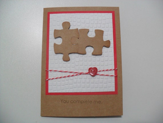 Anniversary/Love Card - Puzzle Pieces Card - You Complete Me - BLANK Inside