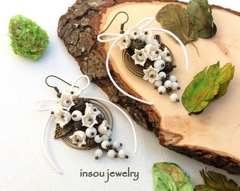 Flower Earrings, Lily Of The Valley, White Earrings, Statement Earrings, Flower Jewelry, Handmade Earrings, Spring Jewelry, Gift For Women