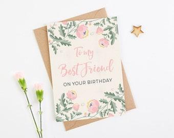 Best Friend Birthday Card Pink Floral