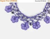 Gift For Mom Crochet Necklace Purple Daisy Flower Crochet Oya Lace Choker Necklace with Stone Beads - Beaded Choker - Turkish Oya Jewelry -