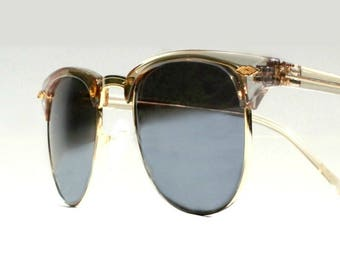 Vintage Silver Clubmasters, platinum and gold Retro Clubmaster Style, Mirrored Sunglasses, Buddy Holly Glasses, 1980s 1950s