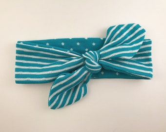 Top Knot Bow Headband -- Turquoise Spots & Stripes REVERSIBLE