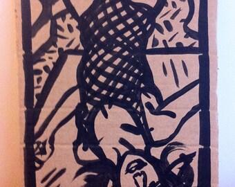 Dessin original, original artwork, erotic sexy girl portrait fille underwear sur carton/cardboard