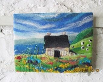 original textile wall art, felt painting, hand embroidery on felt