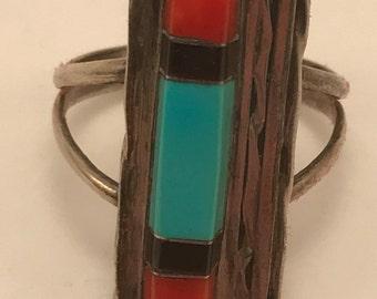 Vtg Myron Panteah (1966-2016) Zuni Coral and Turquoise Ring sz 6