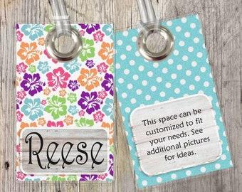 Floral - Beach - Hawaiian - Ocean - Custom Tags for Backpacks, Luggage, Diaper Bags & More!