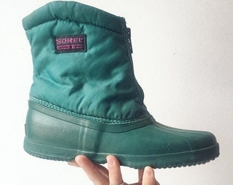 80s insulated teal Sorels snow boots womens 5