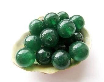 10pcs Natural Green Jade Beads 12mm Emerald Green Jade Round Green Gemstone Beads Semiprecious Stone Beads Jewelry Supplies