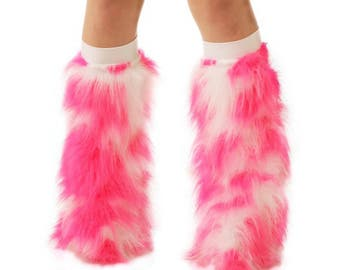 Furry Leg Warmers - Hot Pink White Fuzzy Boot Covers - Rave Fluffies - TrYptiX Camo Long Pile Faux Fur Boot Covers -