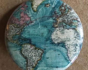 vintage travel map, map pin, travel map, world map, travel keychain, travel button, pinback button, map pin back button vintage globe magnet