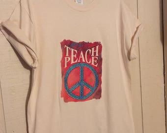 Teach Peace Shirt, Punk T-Shirt, Political Shirt, Peace Sign Shirt, Hippie Shirt, Graphic Tee, Boho Buttons, Activism, Vegan, Love