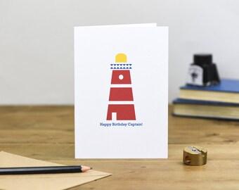 Happy Birthday Captain Lighthouse Card