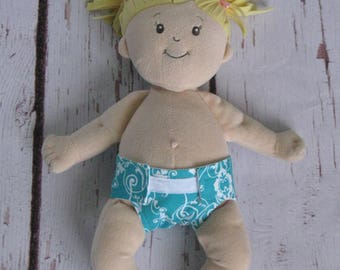 Doll Diaper-Handmade Diaper fits Baby Stella, Pottery Barn Doll other dolls-Turquoise and white Damask print-Great for pretend play